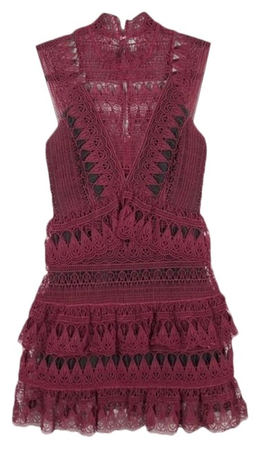 Item - Red Teardrop Guipure Panelled Short Cocktail Dress Size 2 (XS)
