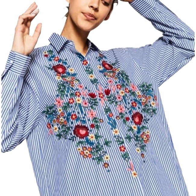 Item - Blue Floral Embroidered Striped Button Up Button-down Top Size 8 (M)