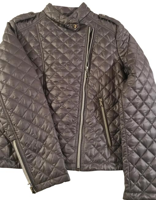 Item - Silver/Gray Quilted Moto Jacket Size 12 (L)