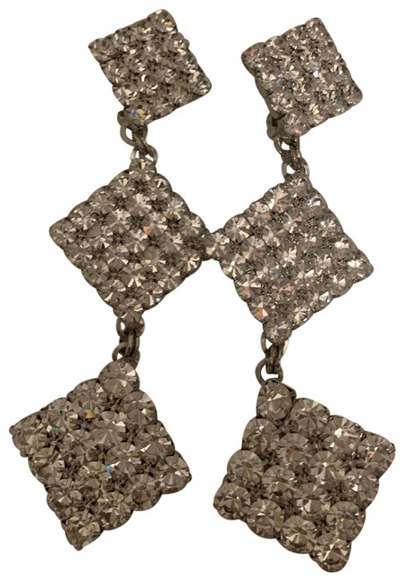 Item - Silver Square Crystal Three Tier Clip-on Earrings