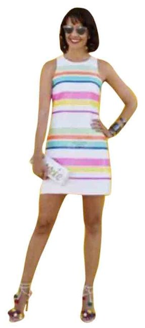 Item - Pink New White Stripe Sequins Cocktail Dress Size 00 (XXS)
