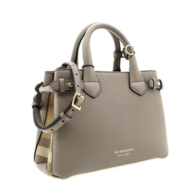 Item - Banner House Check Grey Leather Tote
