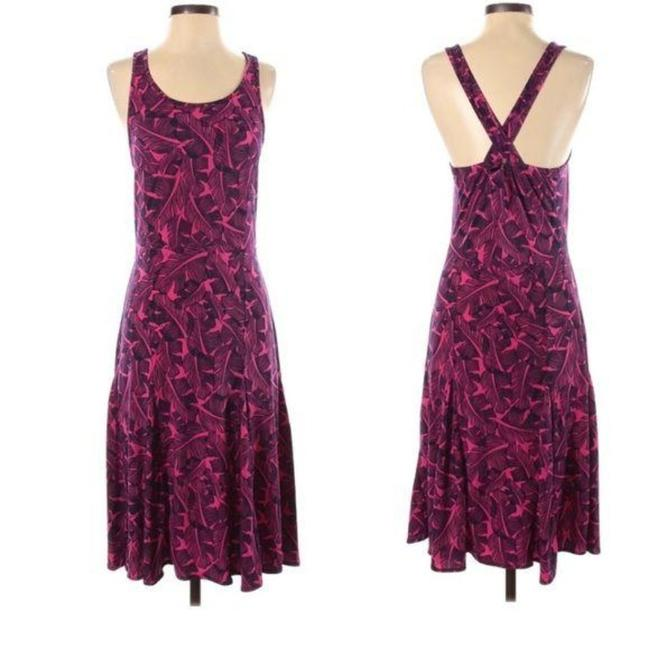 Item - Pink Black Tropical Print Midi Mid-length Short Casual Dress Size 4 (S)