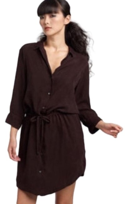 Item - Brown Standard Shirtdress Mid-length Short Casual Dress Size 12 (L)