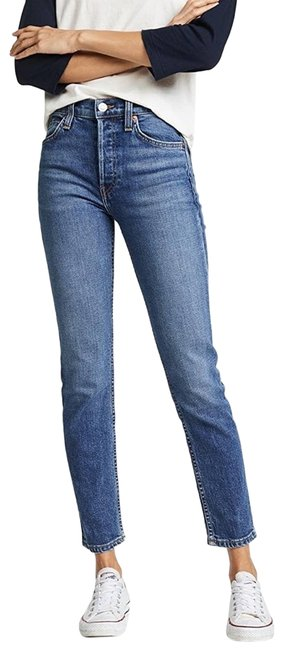 Item - Blue Re/Done Comfort Stretch High Rise Crop Straight Leg Jeans Size 24 (0, XS)