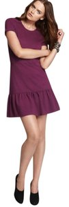 Juicy Couture Flirty Structured Crew Neck Short Sleeve Jersey Ruffled Hem Purple Dress