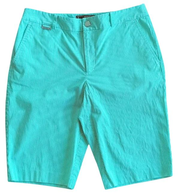 Item - Lime Green and White Active Pinstripe Shorts Size 6 (S, 28)