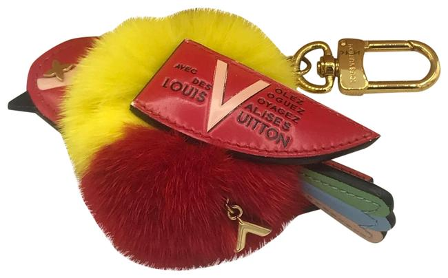 Item - Traveling Bird Charm Key Ring Red Yellow Gold Tone Chain Collector's Mink Fur Limited Edition Rare Out Wristlet