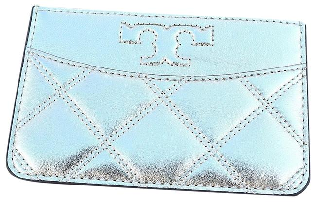 Item - Quilted Zip Card Case White Gold Leather Wristlet