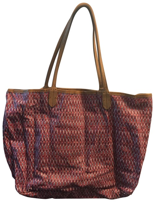 Item - Kennedi Red Printed Canvas with Leather Trim Tote