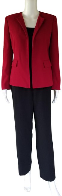 Item - Red Black 3 Pc Career 6p Pant Suit Size Petite 6 (S)