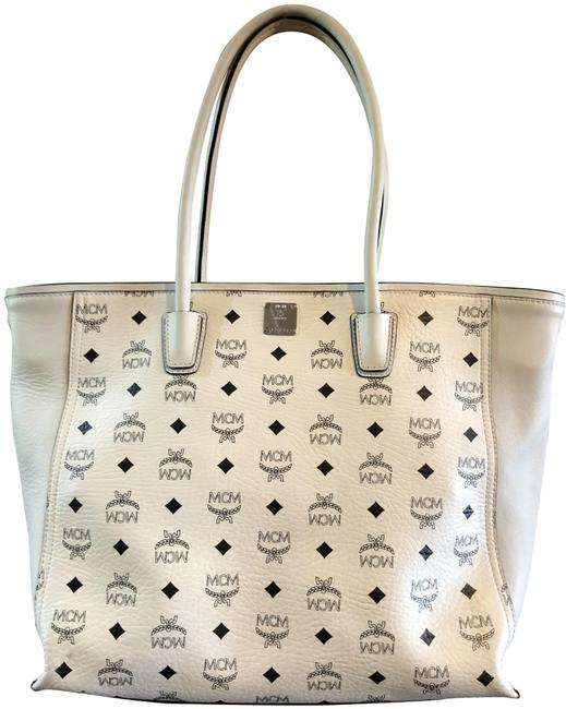 Item - Large Shopper White with Black Logo Leather Tote