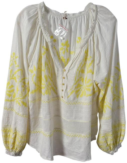 Free People Cream Stitched S Blouse Size 4 (S) Free People Cream Stitched S Blouse Size 4 (S) Image 1