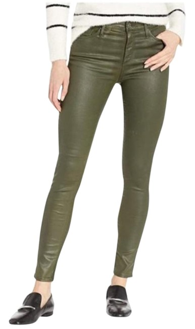 Item - Green Coated Farrah High Waist Ankle Dried Agave Skinny Jeans Size 23 (00, XXS)