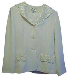 John Meyer of Norwich JOHN MEYER LADIES 2PC OFF WHITE SOLID/SEQUENCE SKIRT/JACKET SET