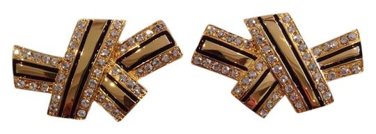 CA & LOU CA & LOU AUTHENTIC NWT CRYSTAL ABSTRACT BOW CLIP ON BUTTON EARRINGS
