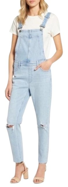 Item - Blue Light Wash Sierra Ripped Overalls Skinny Jeans Size 23 (00, XXS)