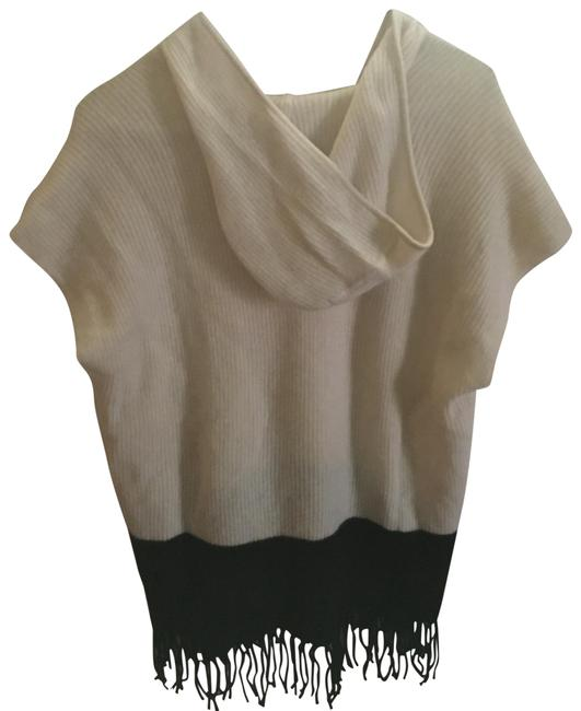 Item - 2- Ply Cashmere Hooded Poncho White/ Black Sweater