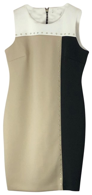 Item - White Black and Tan Mid-length Cocktail Dress Size 12 (L)