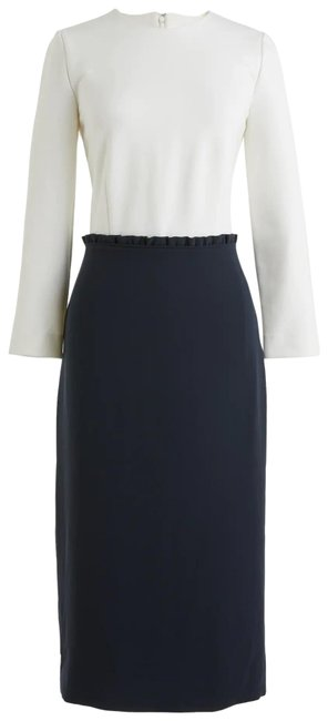 Item - Navy Blue and White Color Block Combo Mid-length Work/Office Dress Size 4 (S)