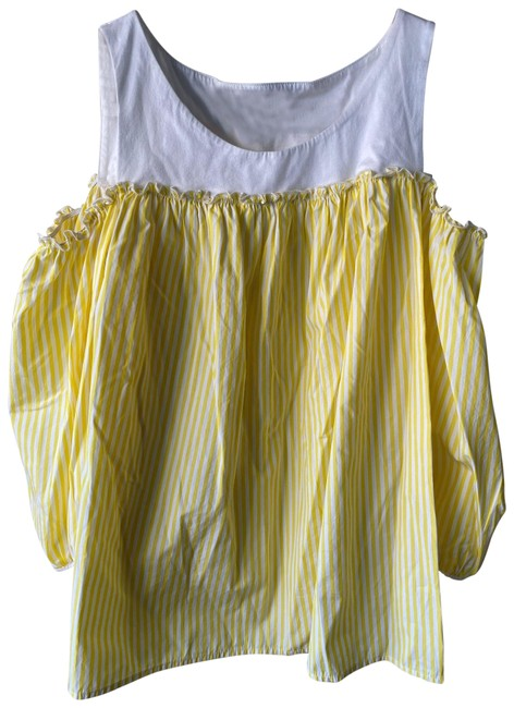 Item - Striped Yellow Canasta Cold-shoulder Blouse Size 8 (M)