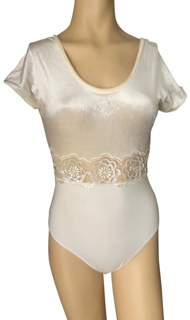 Item - Off White Sequin/Embroidered Rayon Blend In Bodysuit Style Ivory Top
