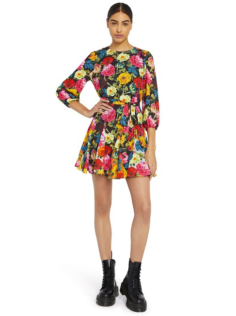 Alice + Olivia Multi with Tag W Mina Puff-sleeve W/ Belt Short Night Out Dress Size 6 (S) Alice + Olivia Multi with Tag W Mina Puff-sleeve W/ Belt Short Night Out Dress Size 6 (S) Image 1