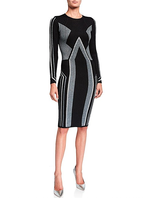 Item - Multi with Tag Hesiaa Geometric Long Sleeve Bodycon Mid-length Cocktail Dress Size 4 (S)