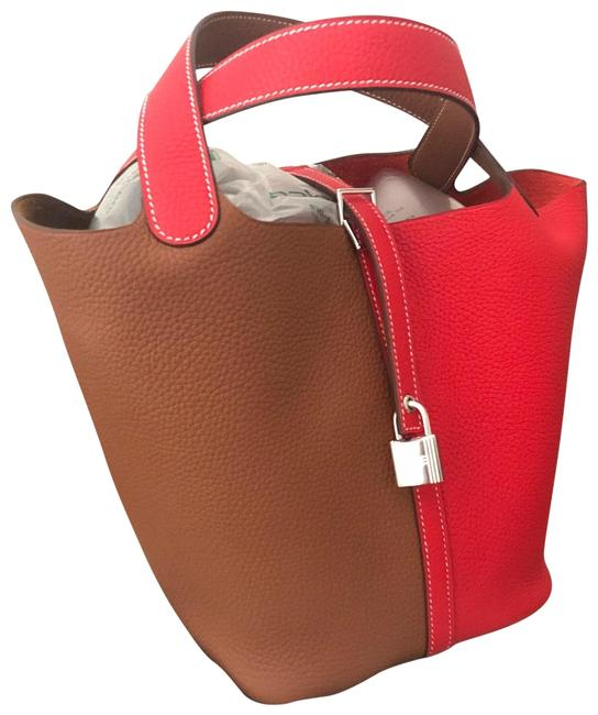 Item - Picotin 22 Mm Sauge Brown and Red Tc Leather Satchel