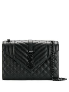 Item - Medium Envelope Matelasse Grain De Poudre Embossed Black Calfskin Leather Shoulder Bag