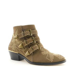 Item - Brown Beige Taupe Studded Suede Leather Buckle Block-heel Ankle Boots/Booties