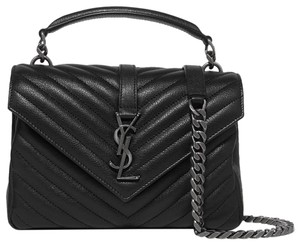 Item - Monogram Medium College Matelasse Black Lambskin Leather Shoulder Bag