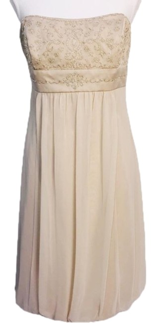 Item - Cream Tan Beaded Bodice Mid-length Formal Dress Size 12 (L)