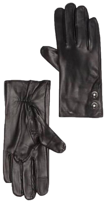 Item - Black Leather Logo Dome Button Gloves