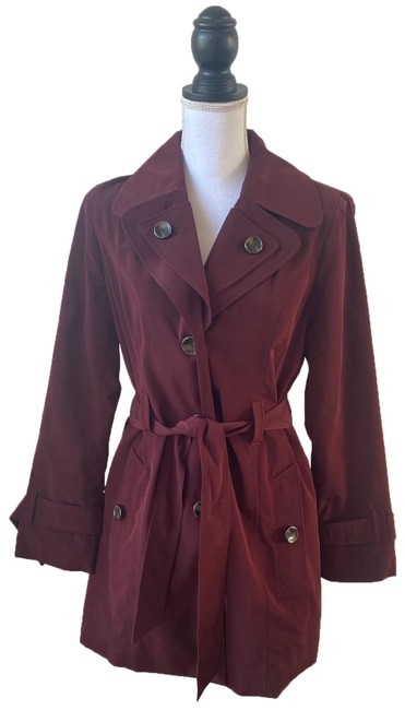 London Fog Red Hooded Water-resistant Trench Coat Size 4 (S) London Fog Red Hooded Water-resistant Trench Coat Size 4 (S) Image 1