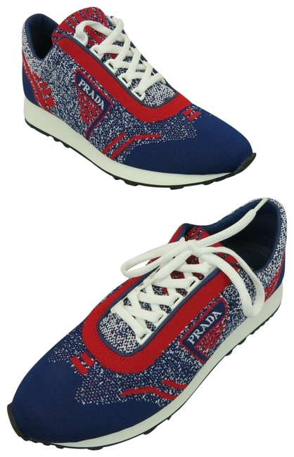 Prada Multicolor 1e371l Red Blue Fabric Trainers Knit Logo Lace Up It Sneakers Size EU 40 (Approx. US 10) Regular (M, B) Prada Multicolor 1e371l Red Blue Fabric Trainers Knit Logo Lace Up It Sneakers Size EU 40 (Approx. US 10) Regular (M, B) Image 1