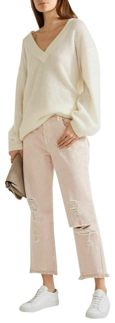 Item - Coquette Beige Ivy High Rise Distressed Crop Straight Leg Jeans Size 28 (4, S)