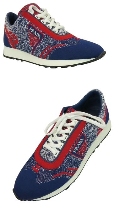 Prada Multicolor New 1e371l Red Blue Fabric Trainers Knit Logo Lace Up It Sneakers Size EU 39.5 (Approx. US 9.5) Regular (M, B) Prada Multicolor New 1e371l Red Blue Fabric Trainers Knit Logo Lace Up It Sneakers Size EU 39.5 (Approx. US 9.5) Regular (M, B) Image 1