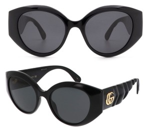 Item - Black / Gold Gg0809s - 001 Quilted Cat Eye Sunglasses