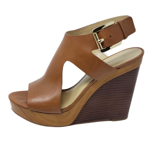 Item - Brown Leather Wedge Sandals Size US 7 Regular (M, B)