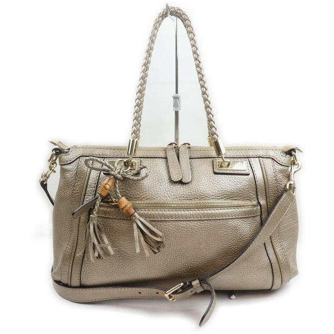 Item - Pebbled Two-way with Removable Strap Metallic Pewter Grey Leather Satchel