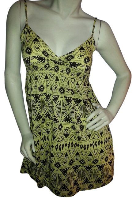 Divided by H&M short dress Yello with black graphic print on Tradesy