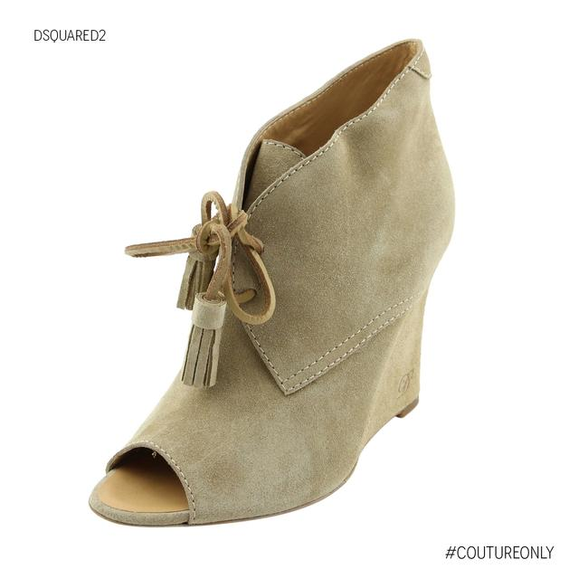 Item - Beige Suede Leather Peep Toe Wedge Heel Lace-up Boots/Booties Size US 7 Regular (M, B)