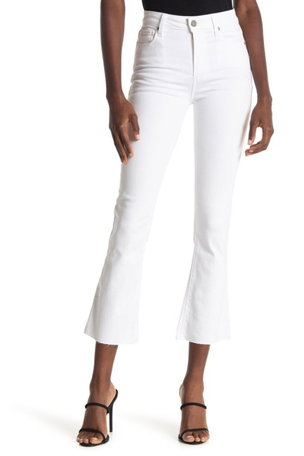 Item - Optic White Rory Crop with Raw Hem Flare Leg Jeans Size 32 (8, M)
