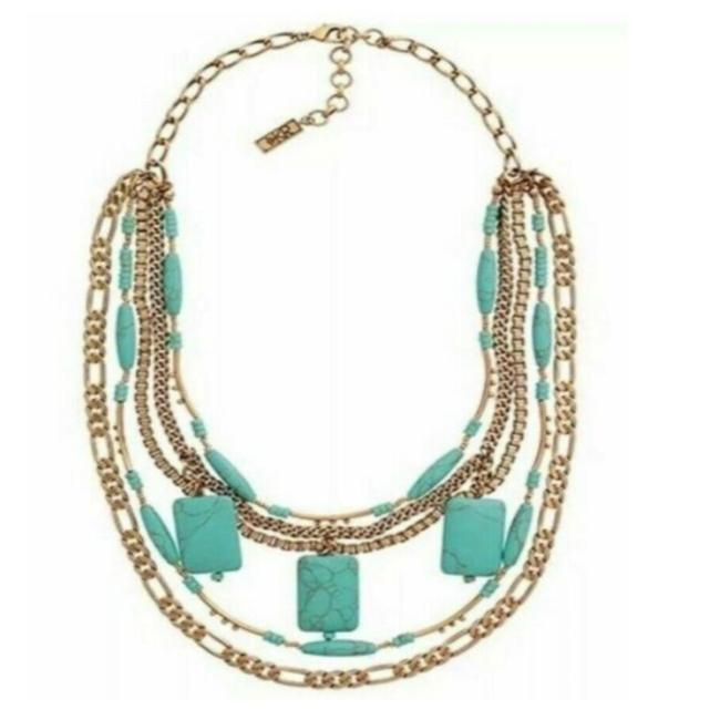 Item - Bib Statement Turquoise Gold Tone Brass Necklace