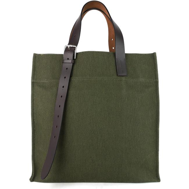 Item - Etriviere and Vache Natural Leather Green Canvas Tote