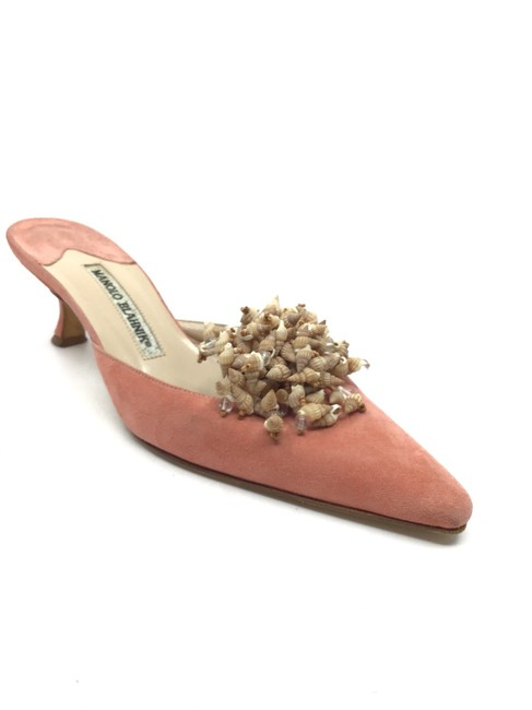 Item - Coral Suede Kitten Heel with Clustered Shells Mules/Slides Size US 7.5 Regular (M, B)