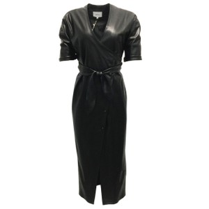 Item - Black Vegan Leather Wrap Cocktail Dress
