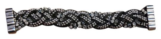 Unknown Braided Silver Rhinestone Leather Magnetic Clasp Bracelet