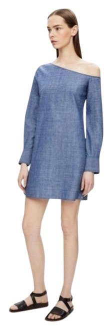 Item - Blue Ulrika B One Shoulder Chambray Short Casual Dress Size 2 (XS)